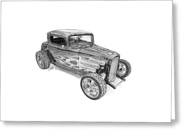 Ford Custom Greeting Cards - Ford V8 Roadster Custom 1932 Greeting Card by Gabor Vida