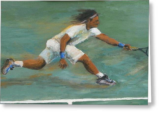 Racquet Paintings Greeting Cards - Forehand Greeting Card by Brendan  Quirk