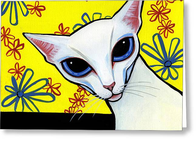 Drawings Of Cats Greeting Cards - Foreign White Cat Greeting Card by Leanne Wilkes