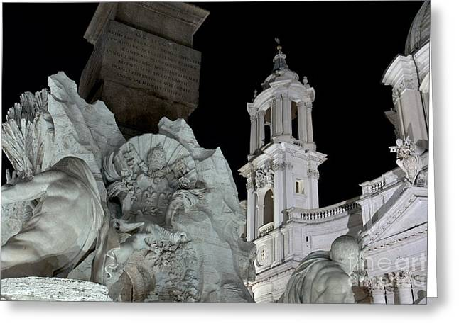 Fontain Greeting Cards - Foreshortening of Piazza Navona Greeting Card by Fabrizio Ruggeri