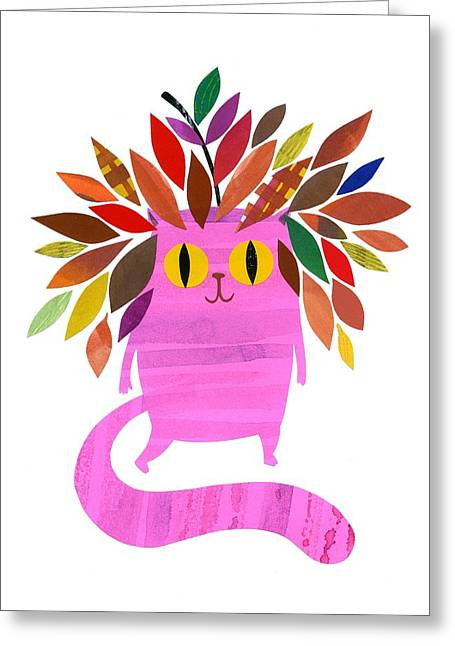 Forest Cat Greeting Card by Anne Vasko