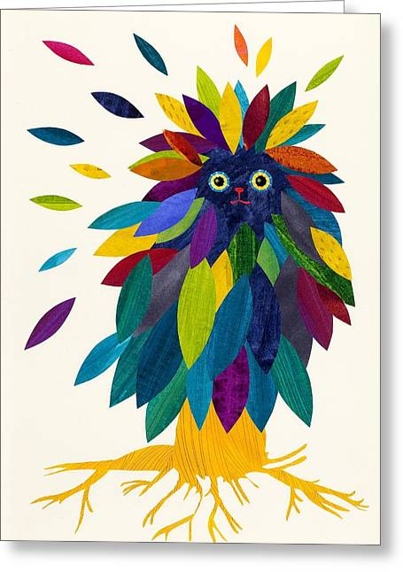 Colored Owls Greeting Cards - Forest Cover Greeting Card by Anne Vasko