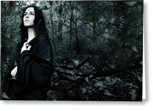 Black Hair Greeting Cards - Forest demon Greeting Card by Wojciech Zwolinski