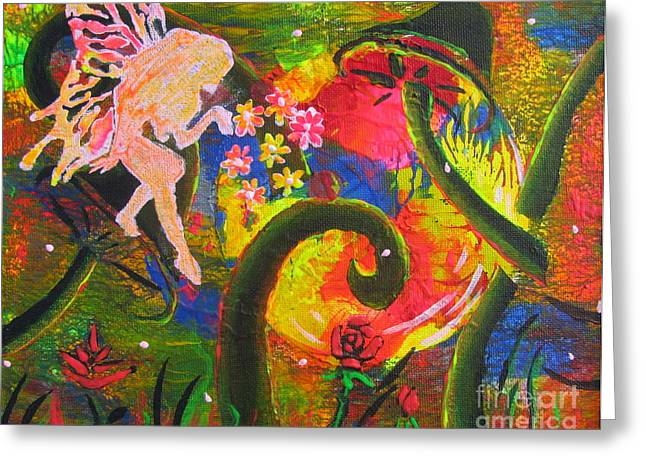 Pixy Greeting Cards - Forest Fairies - 2 Greeting Card by Jacqueline Athmann