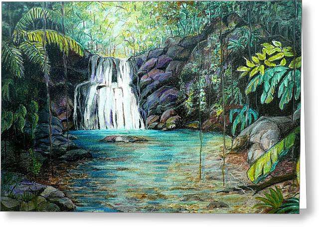 Waterfall Pastels Greeting Cards - Forest Falls Greeting Card by Karin Kelshall- Best