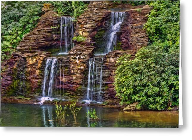 Tree Leaf On Water Digital Art Greeting Cards - Forest Falls Greeting Card by Nadia Sanowar