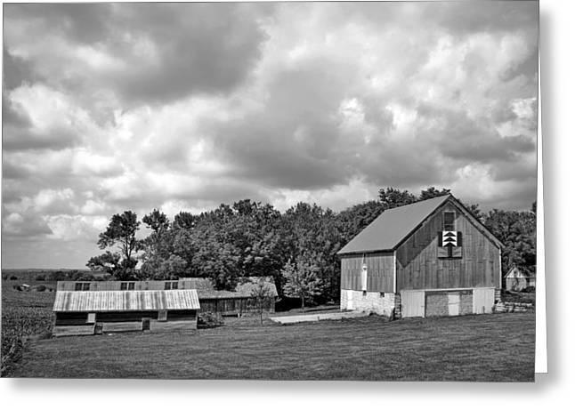 Forest For The Trees - Quilt Barn - Nebraska Greeting Card by Nikolyn McDonaldFarm Scene - Barns - Nebraska - BW