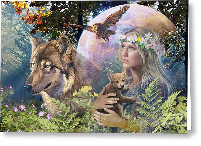 Wolves Digital Greeting Cards - Forest Friends 2 Greeting Card by Steve Read