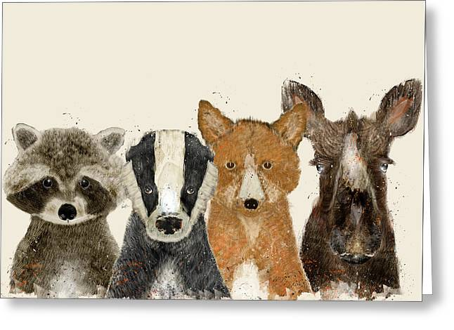Raccoon Digital Art Greeting Cards - Forest Friends Greeting Card by Bri Buckley