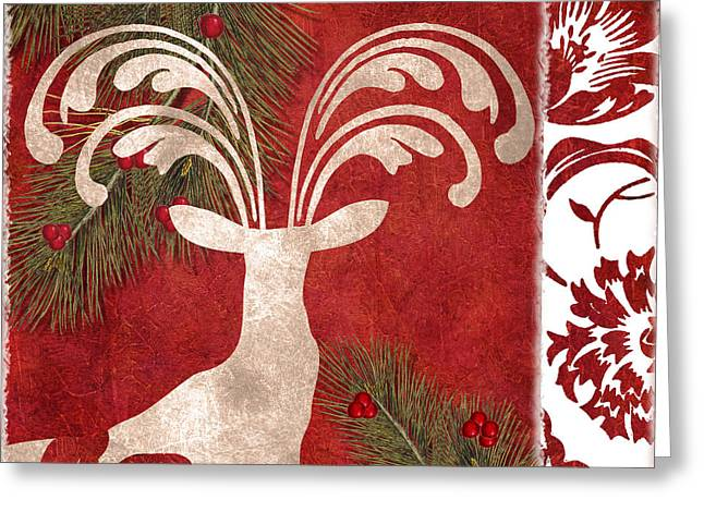 Christmas Decor Greeting Cards - Forest Holiday Christmas Deer Greeting Card by Mindy Sommers