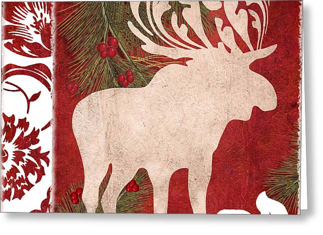 Mistletoe Greeting Cards - Forest Holiday Christmas Moose Greeting Card by Mindy Sommers
