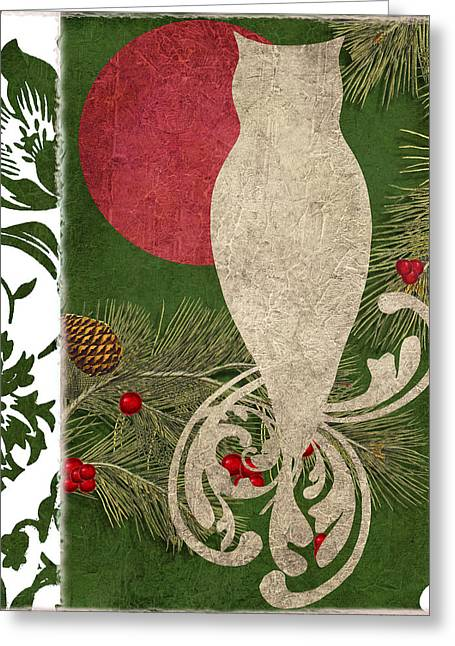 Forest Holiday Christmas Owl Greeting Card by Mindy Sommers