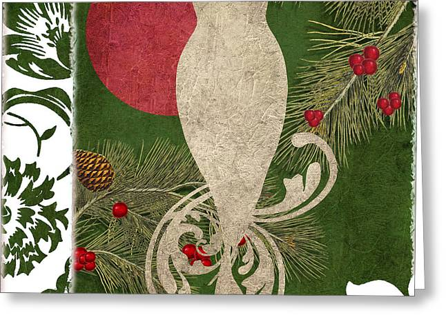 Pine Cones Greeting Cards - Forest Holiday Christmas Owl Greeting Card by Mindy Sommers