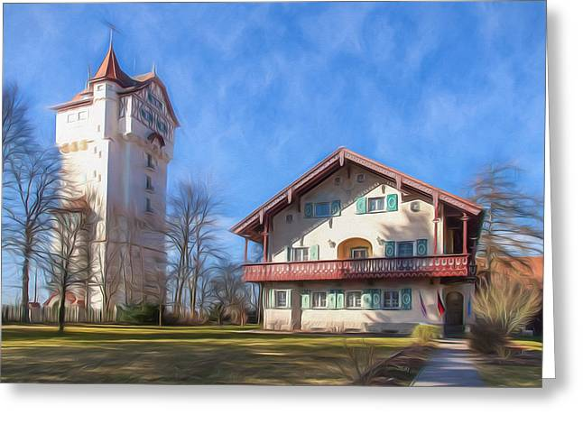 Oberpfalz Greeting Cards - Forest House and Grafenwoehr Tower Greeting Card by Shirley Radabaugh