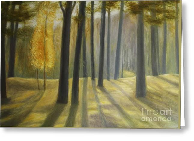 Cardboard Greeting Cards - Forest In Autumn Greeting Card by Algirdas Lukas
