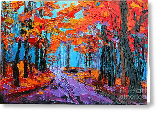 Autumn Forest, Purple Path, Modern Impressionist, Palette Knife Painting Greeting Card by Patricia Awapara