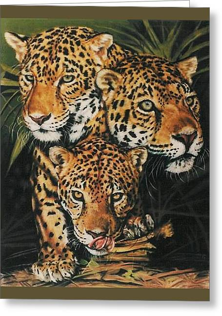Jaguars Greeting Cards - Forest Jewels Greeting Card by Barbara Keith