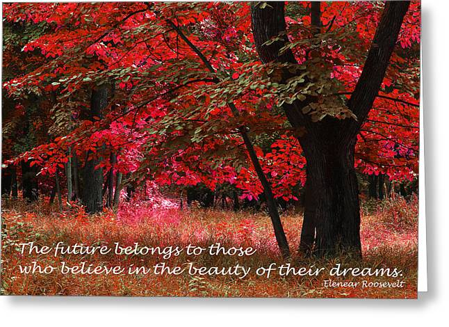 Clever Greeting Cards - Forest Landscape with Inspirational Text Greeting Card by Donald  Erickson