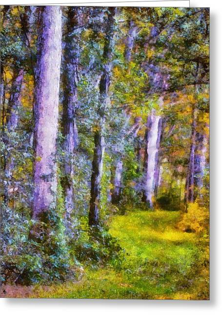 Hiking Mixed Media Greeting Cards - Forest Light Greeting Card by Dan Sproul