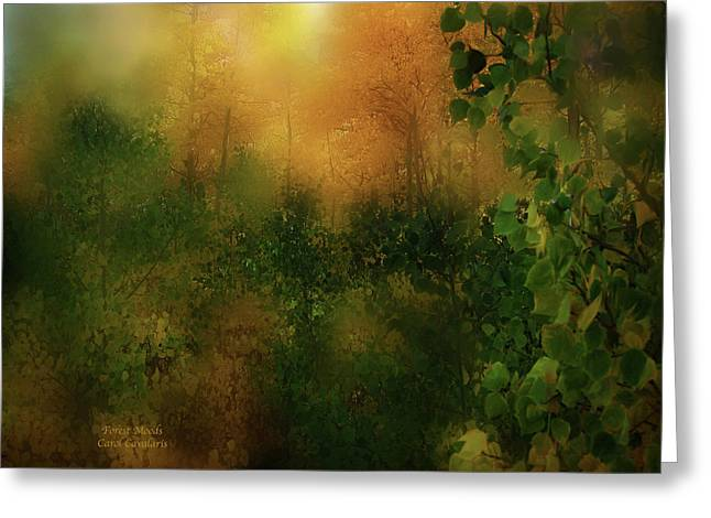 Fall Scenes Mixed Media Greeting Cards - Forest Moods Greeting Card by Carol Cavalaris