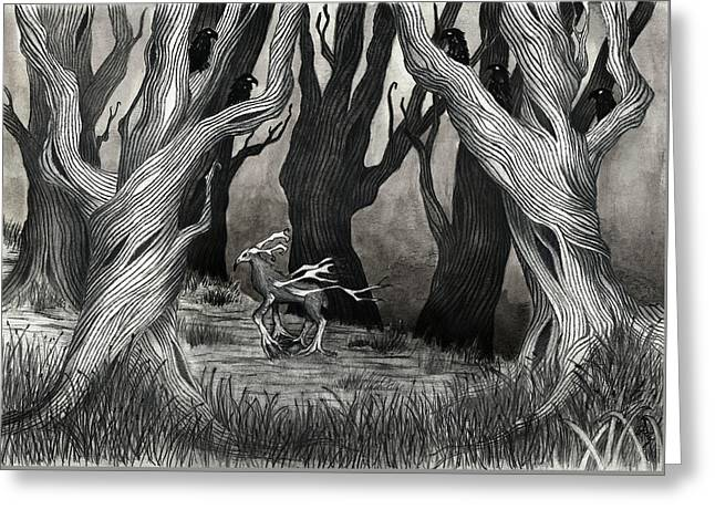 Eerie Greeting Cards - Forest Nevermore Greeting Card by Jody Scheers