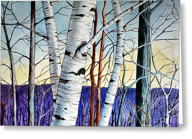 Tree Roots Paintings Greeting Cards - Forest of trees Greeting Card by Christopher Shellhammer