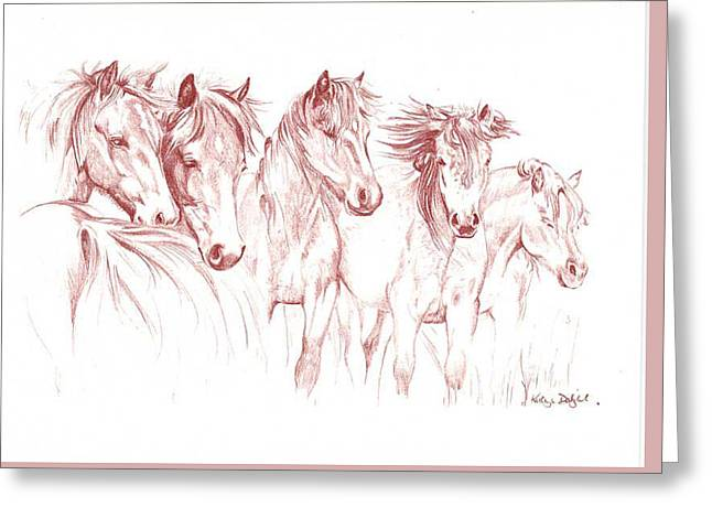 Pony Pastels Greeting Cards - Forest ponies Greeting Card by Kathryn Dalziel