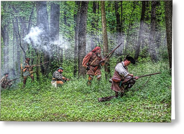 Citizens Greeting Cards - Forest Skirmish Rangers 1763 Greeting Card by Randy Steele