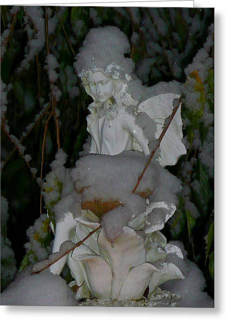 Night Angel Greeting Cards - Forest Snow Fairy Greeting Card by Lori Seaman