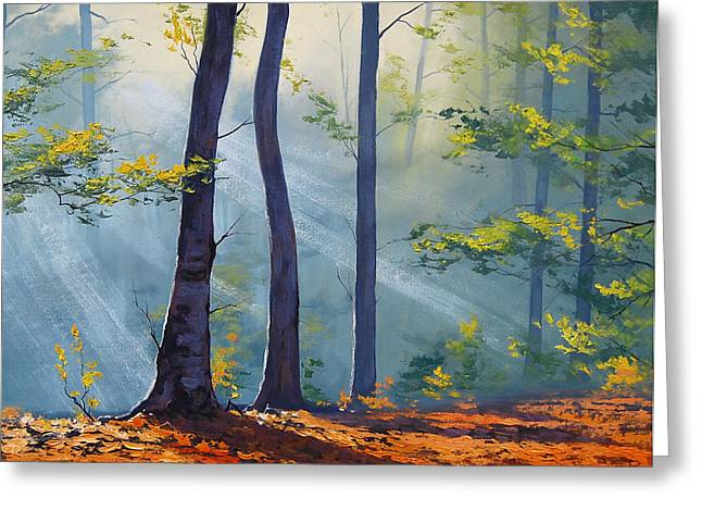 Vibrant Green Greeting Cards - Forest Sunrays Greeting Card by Graham Gercken