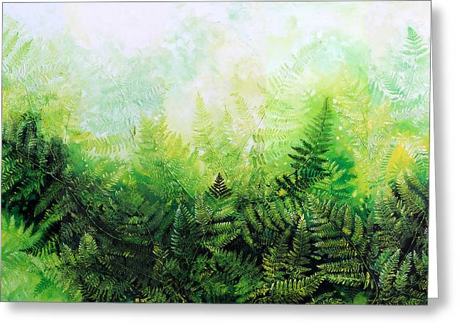 Impasto Art Greeting Cards - Forever Ferns Greeting Card by Hanne Lore Koehler