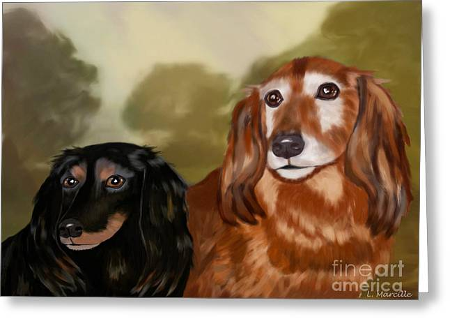 Dachshund Digital Greeting Cards - Forever Friends Greeting Card by Linda Marcille
