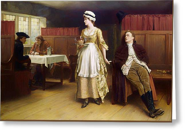 Waitress Greeting Cards - Forewarned Is Forearmed Greeting Card by George Goodwin Kilburne
