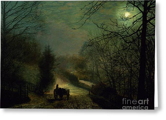 Grimshaw; John Atkinson (1836-93) Greeting Cards - Forge Valley Greeting Card by John Atkinson Grimshaw