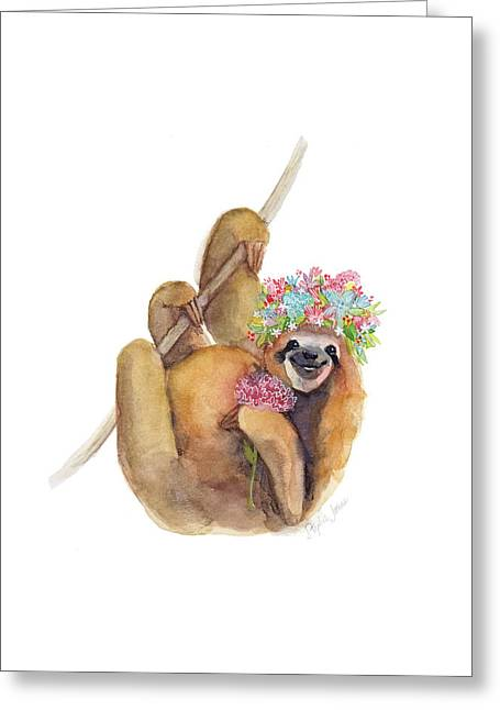 Forget Me Not Sloth Greeting Card by Stephie Jones