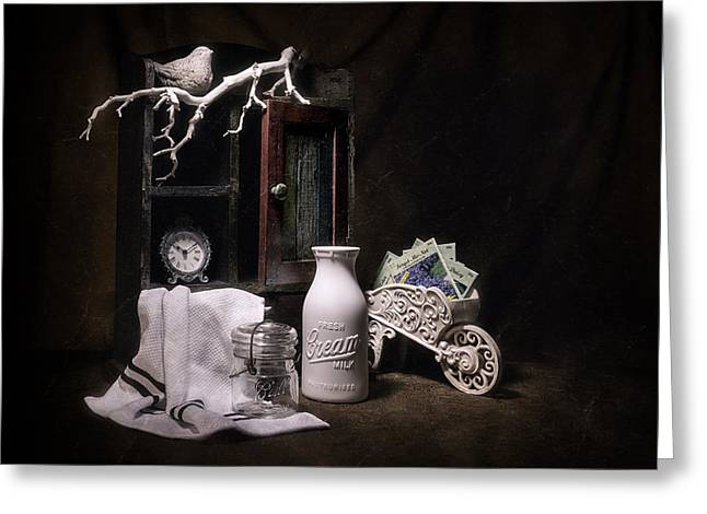 """forget Me Not"" Greeting Cards - Forget Me Not Still Life Greeting Card by Tom Mc Nemar"
