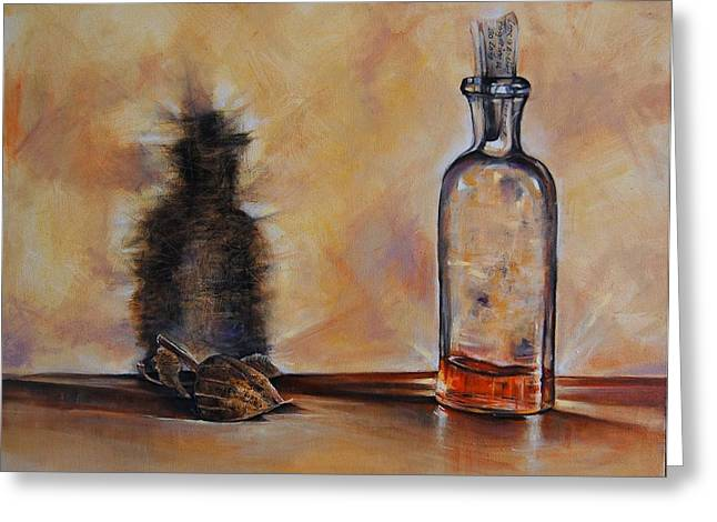 Glass Bottle Greeting Cards - Forgetting Is So Long Greeting Card by Jean Cormier