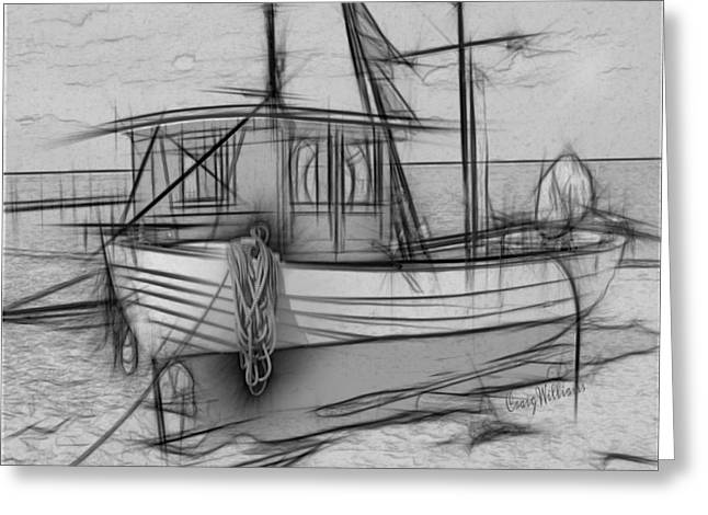 Fishing Boats Drawings Greeting Cards - FORGOTTEN Black and White Greeting Card by Craig Williams