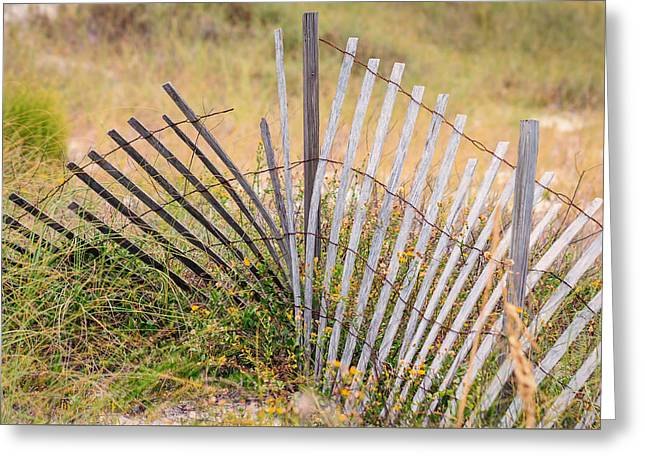 On The Beach Greeting Cards - Forgotten Fence Greeting Card by Gary Oliver