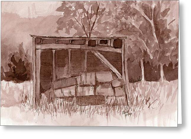 Monotone Paintings Greeting Cards - Forgotten Hay Shed Greeting Card by David King