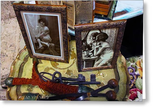 Table Greeting Cards - Forgotten Ladies Greeting Card by Susan Vineyard