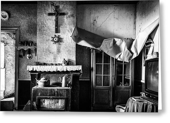 Haunted Castle Greeting Cards - Forgotten Living Room - Abandoned House Interior Greeting Card by Dirk Ercken