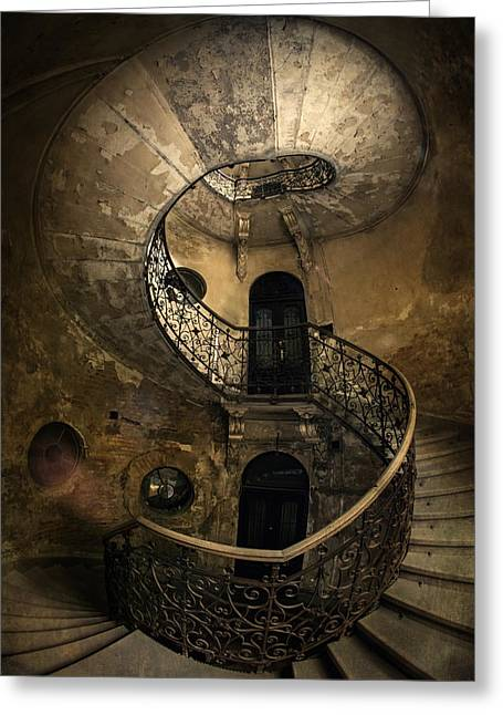 Black Top Greeting Cards - Forgotten Staircase Greeting Card by Jaroslaw Blaminsky