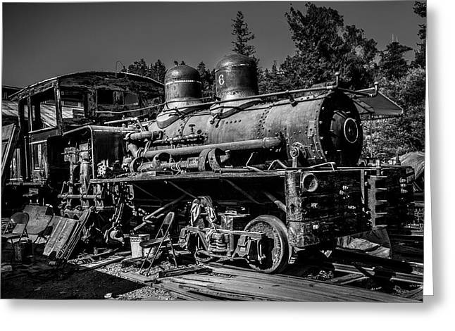 Forgotten Train Black And White Greeting Card by Garry Gay