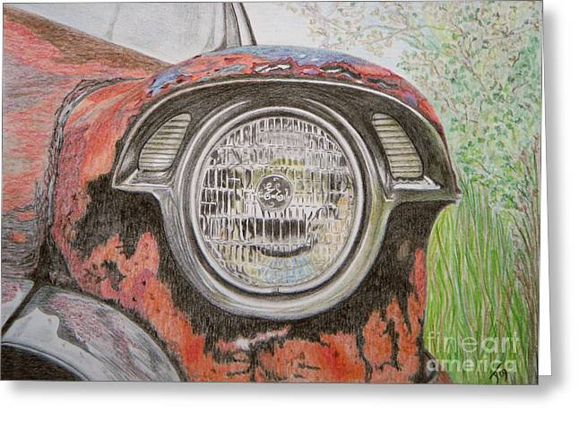 Rusted Cars Drawings Greeting Cards - Forgotten Wreck Greeting Card by Yvonne Johnstone