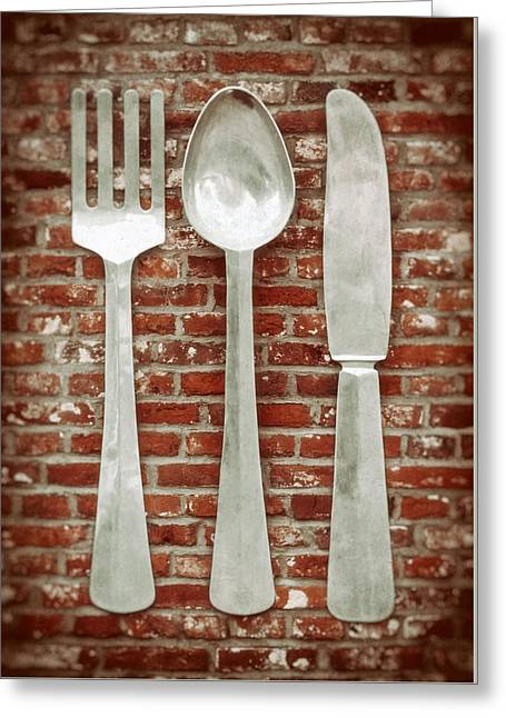 Fork Spoon Knife Greeting Card by Wim Lanclus