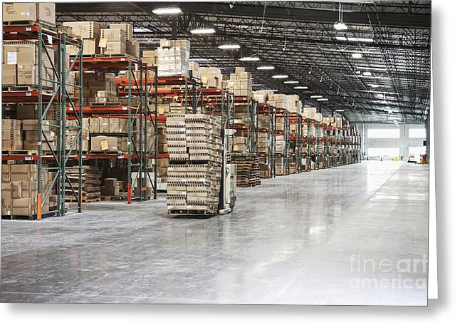 Best Sellers -  - Cardboard Greeting Cards - Forklift Moving Product in a Warehouse Greeting Card by Jetta Productions, Inc