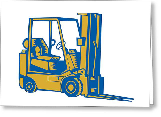 Forklift Truck Side Woodcut Greeting Card by Aloysius Patrimonio