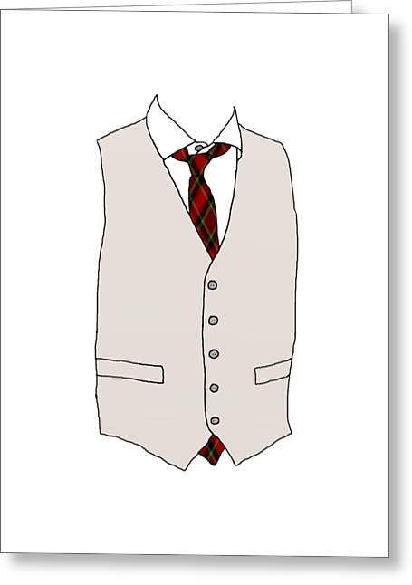 Formal Mixed Media Greeting Cards - Mens Apparel Greeting Card by Priscilla Wolfe