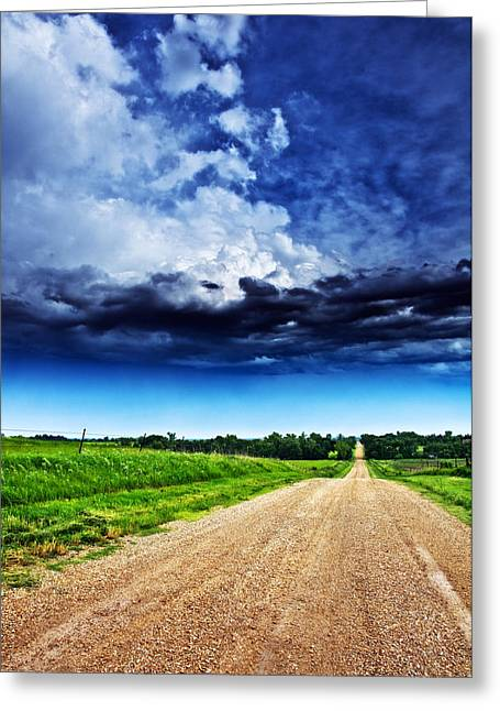 Gravel Road Greeting Cards - Forming Clouds over Gravel Greeting Card by Eric Benjamin